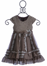 Isobella and Chloe Girls Capped Sleeve Dress in Reese (Size 12Mos)