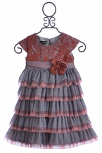 Isobella and Chloe Girls Chiffon Layered Dress in Coral Kiss