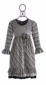 Isobella and Chloe Girls Designer Dress in Whirlwind Stripes