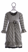 Isobella and Chloe Girls Designer Dress in Whirlwind Stripes (2T,4,5)