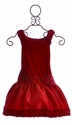 Isobella and Chloe Girls Dress in Red with Flower Waist