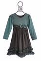 Isobella and Chloe Girls Dress with Polka Dots in Caspian Sea