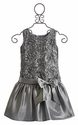 Isobella and Chloe Girls Drop Waist Dress in Silver