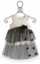 Isobella and Chloe Girls Estelle White and Black Layered Dress