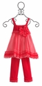 Isobella and Chloe Girls Fancy Outfit in Raspberry