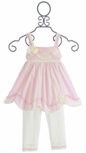 Isobella and Chloe Girls Fancy Ruffle Top and Leggings (Size 6Mos)