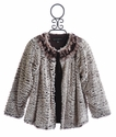Isobella and Chloe Girls Faux Fur Coat with Fringe Collar