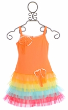 Isobella and Chloe Girls Frilly Dress in Sherbert Orange