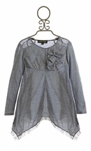 Isobella and Chloe Girls Blue Gray Tunic in Lace
