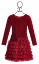 Isobella and Chloe Girls Holiday Dress in Ruffle Red