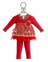 Isobella and Chloe Girls Holiday Pant Set Cherry Pie