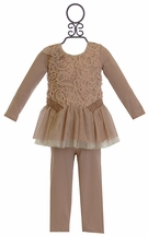 Isobella and Chloe Girls Lace Pant Set in Dusty Pink