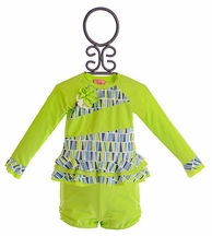 Isobella and Chloe Girls Rash Guard Set in Lime