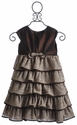 Isobella and Chloe Girls Ruffle Dress in Karen Brown (Size 4)