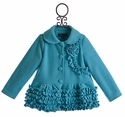 Isobella and Chloe Girls Ruffle Winter Coat in Blue