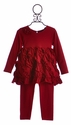 Isobella and Chloe Girls Tunic Dress Pant Set in Red