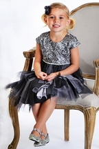 Isobella and Chloe Holiday Dress for Girls in Silver (2T,4,5,6,6X)