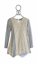 Isobella and Chloe Lace Tunic in Ivory and Gray (Size 8)