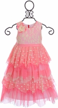 Isobella and Chloe Little Girls Coral Dress