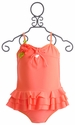 Isobella and Chloe Little Girls Coral Ruffle Tankini