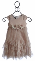 Isobella and Chloe Little Girls Dress Champagne Pixie Layers