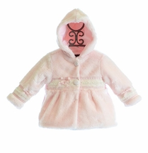 Isobella and Chloe Little Girls Pink Faux Fur Coat