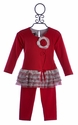 Isobella and Chloe Little Girls Red Pant Set with Flower