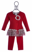 Isobella and Chloe Little Girls Red Pant Set with Flower (Size 3T)