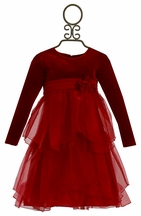 Isobella and Chloe Little Girls Red Velvet Dress