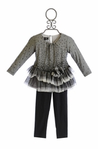 Isobella and Chloe Little Girls Tunic Set in Black