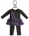 Isobella and Chloe Little Girls Tutu Tunic in Charcoal and Purple