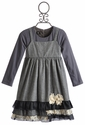 Isobella and Chloe Long Sleeve Girls Dress Holland Gray Dots