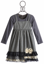 Isobella and Chloe Long Sleeve Girls Dress Holland Gray Dots (Size 7)