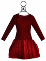 Isobella and Chloe Long Sleeve Holiday Dress for Girls in Red
