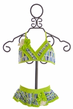 Isobella and Chloe Palm Beach Girls Bikini in Lime (6 & 8)