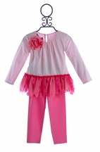 Isobella and Chloe Pink Princess Pant Set with Rose (3Mos & 12Mos)