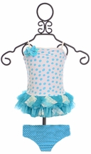 Isobella and Chloe Piper Tankini for Girls in Blue (18Mos,2T,3T,4)