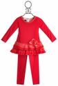 Isobella and Chloe Poinsettia Red Little Girls Tunic Set