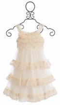 Isobella and Chloe Secret Garden Ivory Dress with Chic Ruffles (Size 3T)