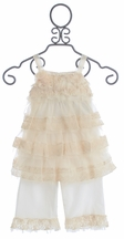 Isobella and Chloe Secret Garden Ivory Outfit for Little Girls (Size 12Mos)