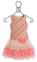 Isobella and Chloe Serenity Drop Waist Dress Ruffled Coral (Size 4)