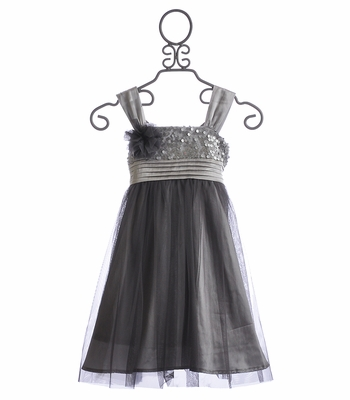Isobella and Chloe Silver Shimmer Girls Holiday Dress