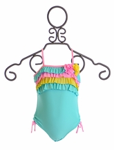 Isobella and Chloe Sugar Sweet One Piece Swimsuit in Tiffany Blue (3T,4,10,12)