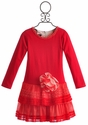 Isobella and Chloe Tulle Ruffle Girls Christmas Dress Poinsettia