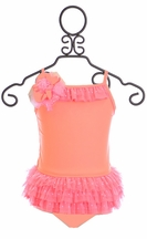 Isobella and Chloe Tutu One-Piece Swimsuit in Coral (Size 6)