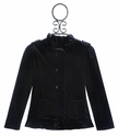 Isobella and Chloe Velour Girls Fancy Coat in Black