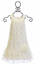 Isobella and Chloe White Dress for Girls with Rosettes