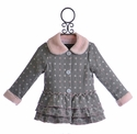 Isobella and Chloe Winter Ruffle Coat for Girls in Gray and Pink