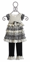 Isobella & Chloe Black and White Ruffled Capri Set