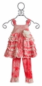 Isobella & Chloe Sweet Caroline Girls Raspberry Capri Set